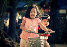 Children Riding Bicycle Stock Photography