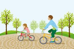 Children riding bicycle in the park-EPS10 Royalty Free Stock Photo