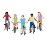 Children riding bicycle. Vector illustration of children riding bicycle Royalty Free Illustration