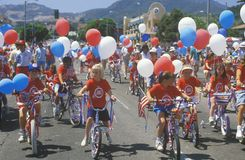 Children Riding Bicycles in July 4th Parade, Pacific Palisades, California Royalty Free Stock Images