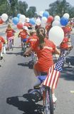 Children Riding Bicycles in July 4th Parade, Pacific Palisades, California Royalty Free Stock Image