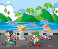 Children riding bike along the ocean. Illustration Royalty Free Stock Image