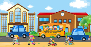 Children riding on bike and bus. Illustration Royalty Free Stock Photography