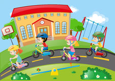 Children riding bike on the road. Illustration Stock Photography