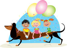 Children riding dog. On party Royalty Free Stock Photo