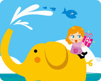 Children riding an elephant sea. The sea, there is a child riding an elephant, she was ready to send a gift to her best friend Vector Illustration