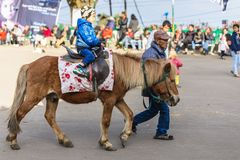 Children riding horse with tamer at Chowrasta mall in Darjeeling. India Royalty Free Stock Image