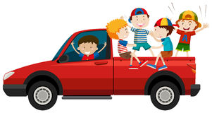 Children riding on pick up truck Stock Images