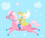 Children riding pony card -. Valentines day illustration royalty free illustration