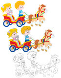 Children riding a pony Royalty Free Stock Photos