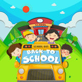 Children riding on school bus Royalty Free Stock Photo