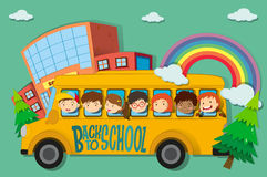 Children riding on school bus Stock Photo
