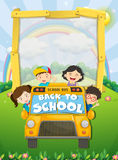 Children riding on school bus. Illustration Stock Photography