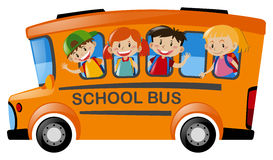 Children riding on school bus. Illustration Stock Photos