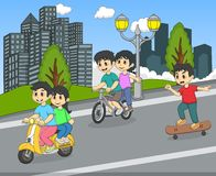 Children riding a scooter, bicycle and skateboard on the street cartoon Royalty Free Stock Photo
