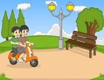 The children riding a scooter in the park cartoon Stock Photos