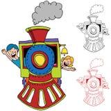 Children Riding Train stock illustration