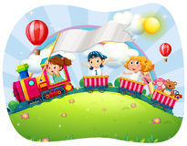 Children riding on train at daytime Royalty Free Stock Images