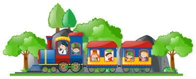 Children riding on train Royalty Free Stock Image