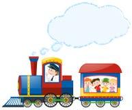 Children riding on train stock illustration