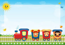 Children riding train with place for text. Little children riding train with place for text Stock Photos