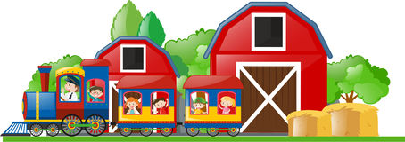 Children riding on the train to the farm Stock Photography