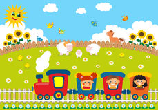 Children riding train Stock Image