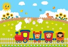 Children riding train. On the village Stock Image