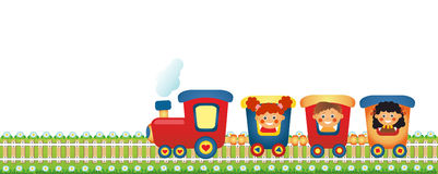 Children riding train. On white background Royalty Free Stock Photography
