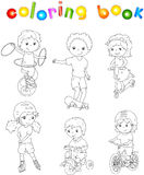 Children riding unicycle, bicycle and scooter, rollerblading and Royalty Free Stock Image