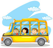 Children riding on yellow bus Royalty Free Stock Images