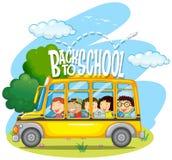 Children riding on yellow school bus. Illustration Stock Photography