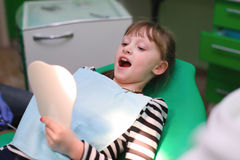 Children are risen teeth after dental treatment Stock Photo