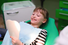 Children are risen teeth after dental treatment Royalty Free Stock Images