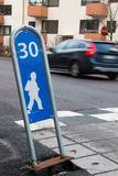 Children road crossing. Road crossing and slow zone Royalty Free Stock Image
