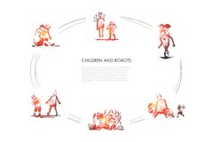 Children and robots - boys and girls making and playing with robots vector concept set royalty free illustration