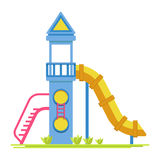 Children rocket with slide on playground  illustration. Children blue rocket with yellow slide, red ladder, small balcony with fence, small portholes and cone Royalty Free Stock Image