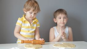 Children roll out the dough and make cookies stock video