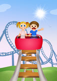 Children on roller coaster Royalty Free Stock Photography