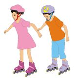 Children roller skates. Illustration of a boy and girl riding on roller skates isolated on white background Stock Image