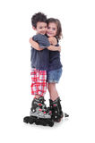 Children with roller skating Stock Image