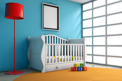 Children Room with Bed, Lamp and Blank Photo Frame. Extreme closeup Stock Photos