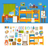 Children room constructor mockup template vector icon set Royalty Free Stock Photos