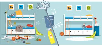 Children room before and after. Interior of a children bedroom before and after cleaning divided by cleaning tools, EPS vector illustration royalty free illustration
