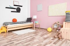 Children room interior with   bed. Children room interior with comfortable bed Royalty Free Stock Images