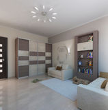Children room interior design, 3D render. Modern interior design ideas. 3d visualization of  kids bedroom interior design Royalty Free Stock Photos