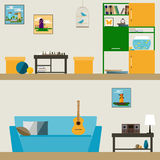 Children room interior in trendy flat style for use in design Stock Image