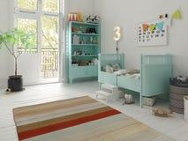 Children room scandinavian style 3D rendering Stock Images