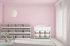 Children room with toys pink Royalty Free Stock Photography