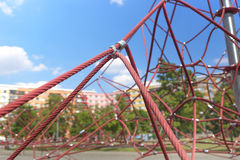 Children rope climbing frame stock photography